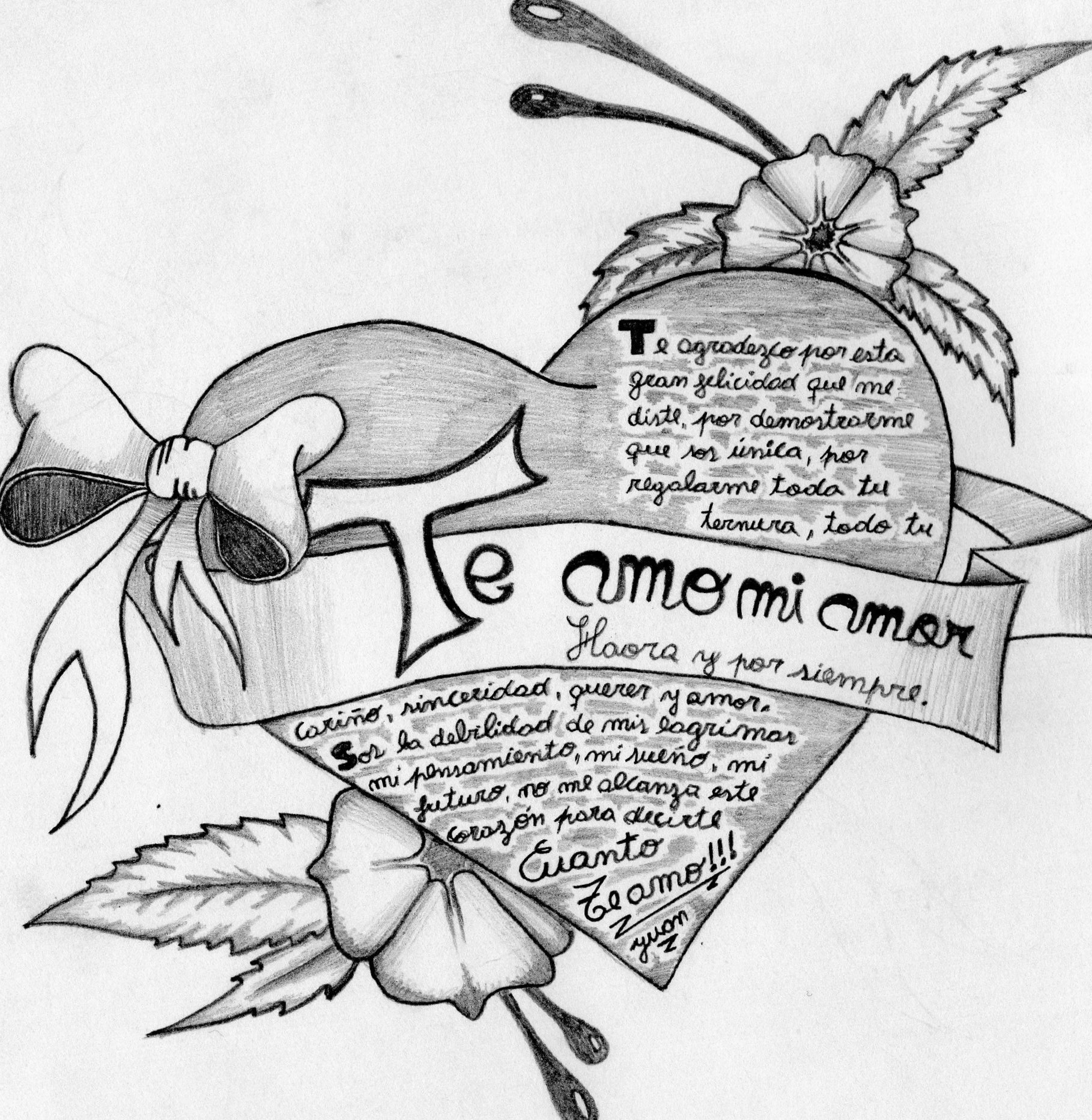 Corazones de amor pintados a lápiz, corazones de colores, corazones flechados y con mensajes de amor