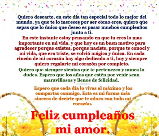 Carta de Feliz cumpleaños para mi novia