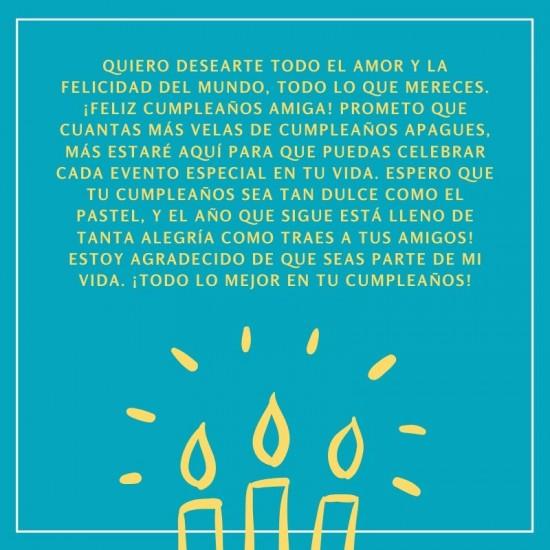 Carta de feliz cumpleaños para mi mejor amiga
